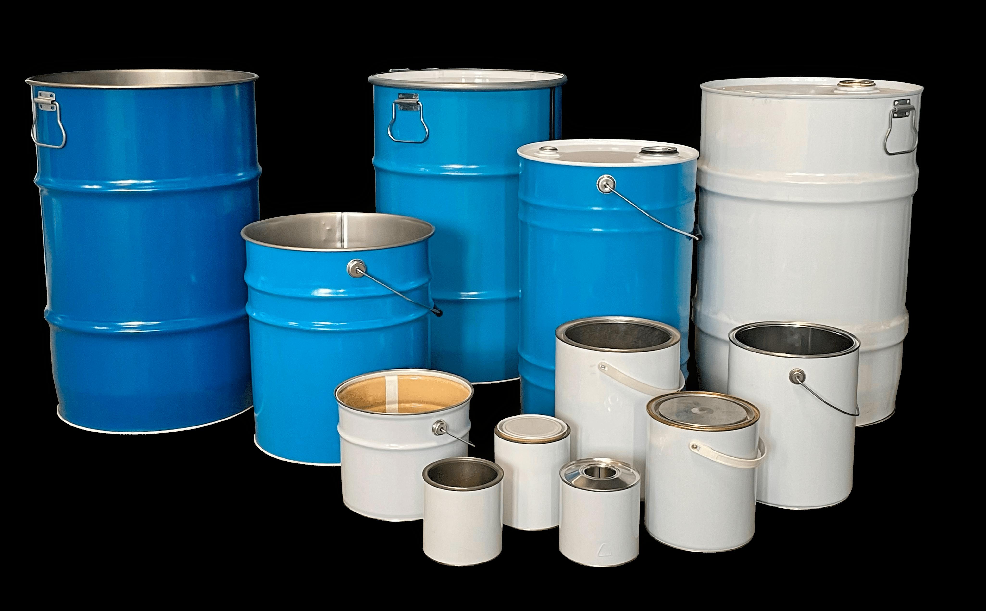 Imballaggi metallici, secchi conici, fusti cilindrici, latte coniche e latte cilindirche di cavioni fustitalia